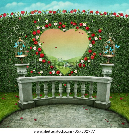 Green pastel background with cage on railing and  window in shape of  heart.