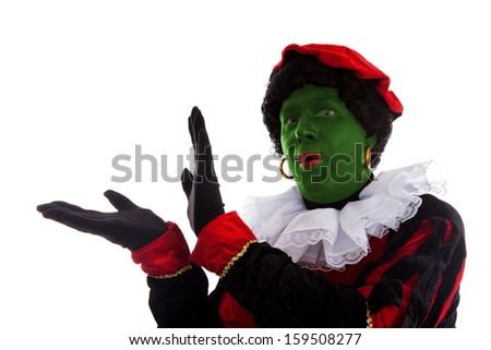 Green piet ( black pete) jest on typical Dutch character part of a traditional event celebrating the birthday of Sinterklaas in december over white background
