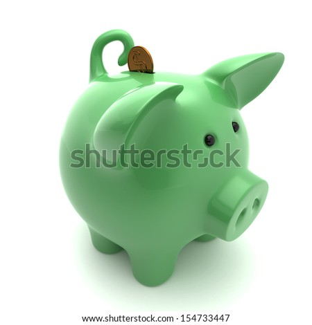 Green piggy on a white background isolated