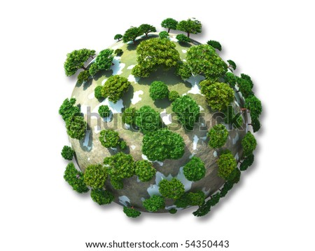 Green planet isolated on white background