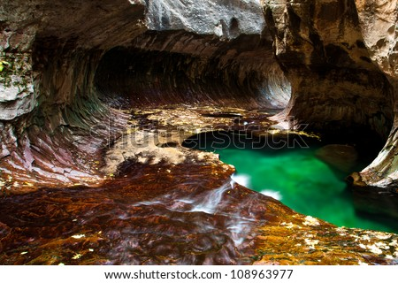 Green pond in the cave from the subways, Zion National Park