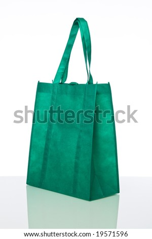 Green reusable shopping bag isolated against a white background