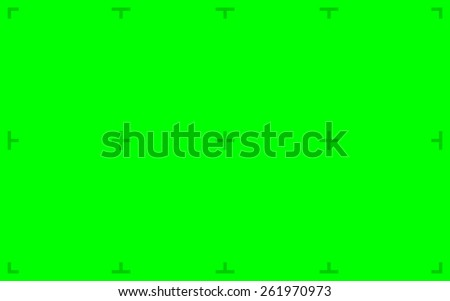 Green Screen with position markers for compositing, 16:10 8K original size - anchors are Green value over 200 for easy removal