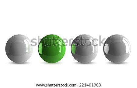 Green shiny ball in row of white ones isolated on white
