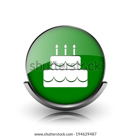 Green shiny glossy icon on white background