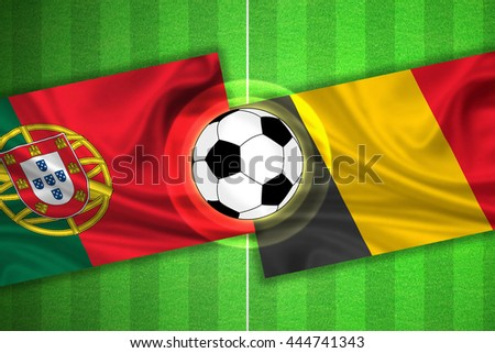 green Soccer / Football field with stripes and flags of portugal - belgium, and ball.