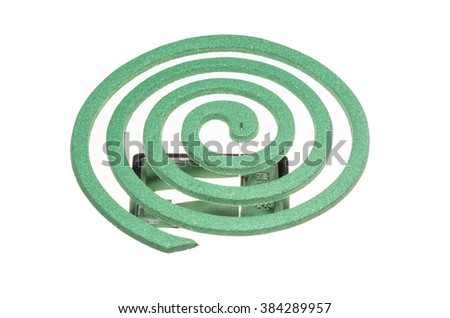 Green spiral Mosquito repellent isolated on white background
