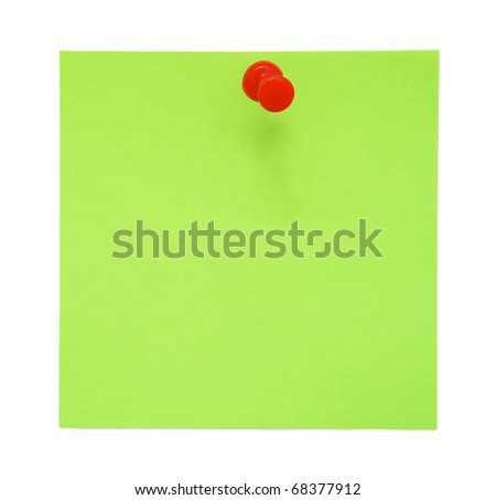 Green sticky note with red pushpin