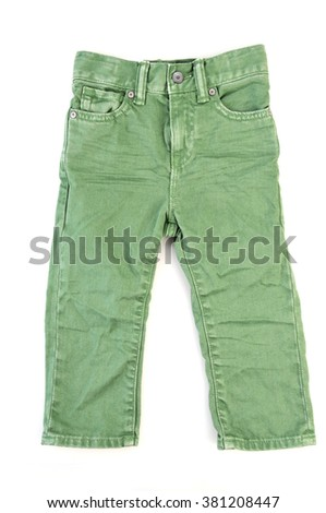 Green straight jeans isolated over white
