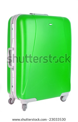 green suitcase on a white background