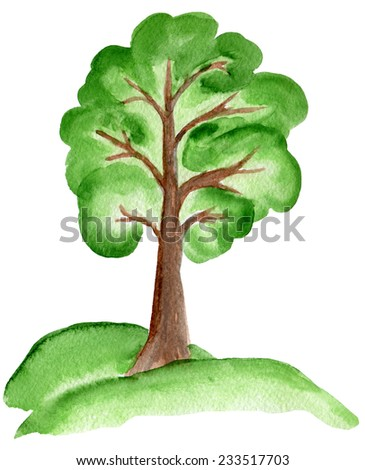 Green tree, painted with watercolors on white background.