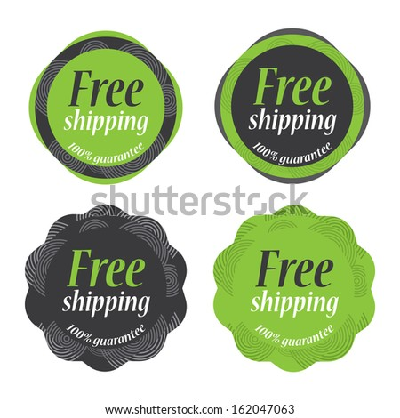 Green vintage Sticker Free Shipping tag collection - jpg.