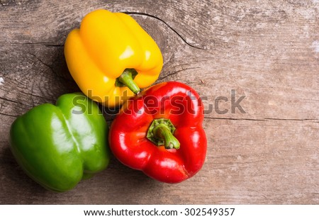 Green , yellow and red bell pepper background