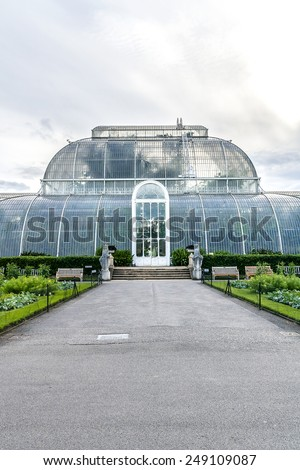 Greenhouse in the grounds of Kew Gardens. Richmond, London, England.