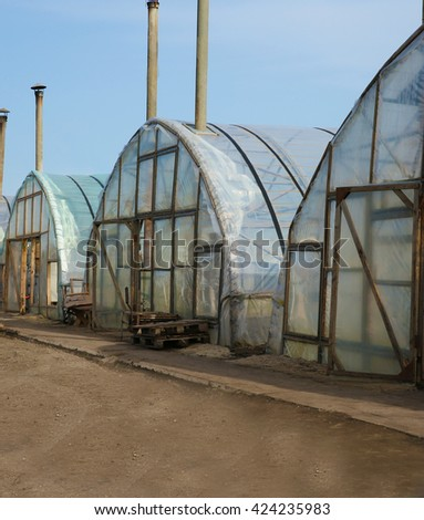 Greenhouses at farm