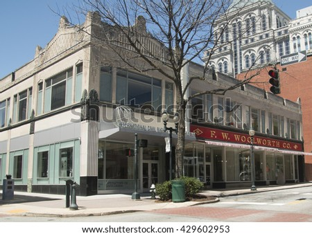 GREENSBORO, NC - APRIL 2014: International Civil Rights Center & Museum. In 1960, black students staged a sit-in after being denied service at the Woolworth's lunch counter.