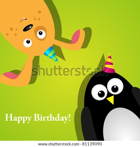 Greeting card with a penguin and dog
