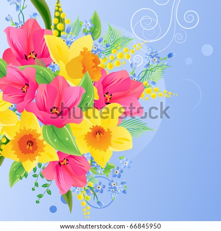 Greeting card with big bunch of spring flowers. Raster version. Vector version is in my gallery.