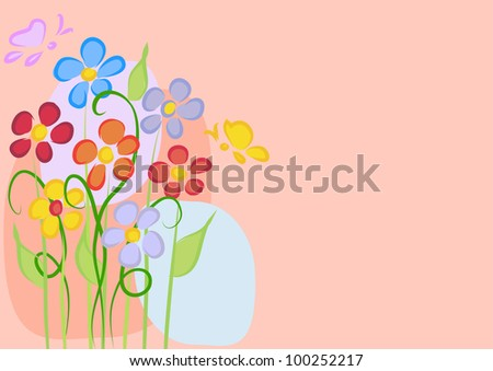 Greeting card with daisies on a pink background