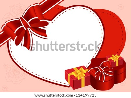 Greeting card with gifts and bow