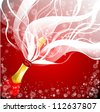 Greeting card with open bottle of champagne - stock vector