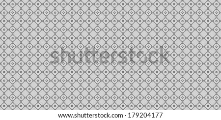 Grey abstract fractal background in high resolution with a detailed simple geometric pattern consisting of a grid of squares in between of circles which have dots inside.