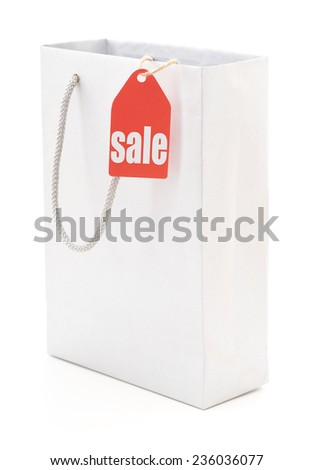 Grey bag with tag closeup isolated on white background