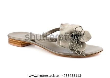 Grey flip flop isolated on white background.