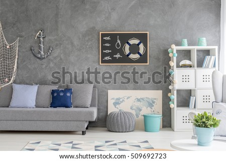modern designed room interior black wall stock photo 485226457