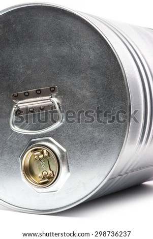 Grey metal oil and chemical drum over the white background, isolated