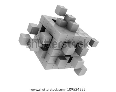 Grey modern cube isolated  on white background