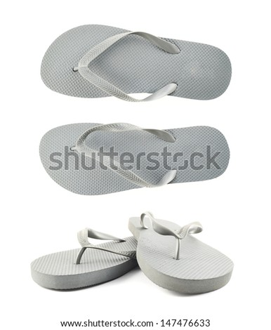 Grey rubber flip-flops isolated over white background, set of two foreshortenings