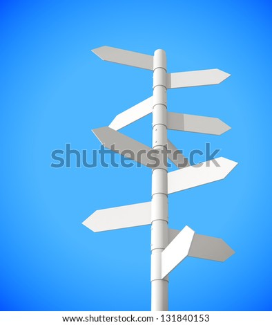 Grey signpost on a blue background 3d model