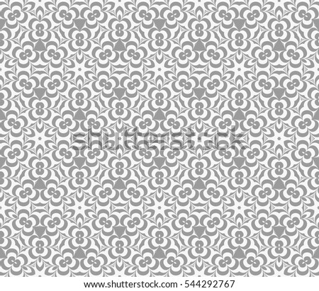 grey, white color floral geometric pattern. Modern seamless raster copy illustraion. illusion for design, wallpaper