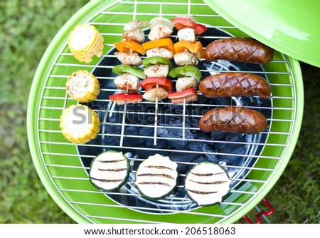 Grill bbq party with sausages,and vegetables