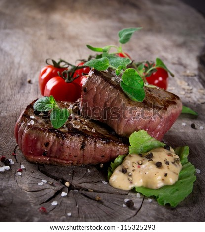 Grilled Bbq Steaks Fresh Herbs Tomatoes Stock Photo ...