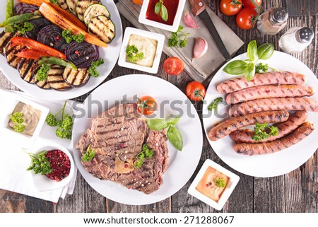 grilled beef, sausage and vegetable