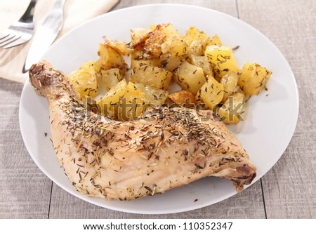 grilled chicken leg and potato