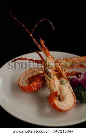 Grilled Lobster Tails On White Plate Stock Photo 549215005 ...