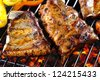 grilled pork ribs - stock photo