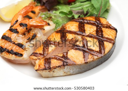 Grilled salmon and shrimp
