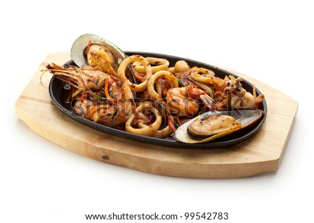 Grilled Seafoods - BBQ Shrimps, Mussels and Calamari Rings