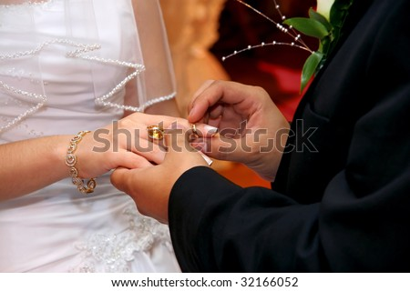 Groom Putting Wedding Ring on Bride`s Finger