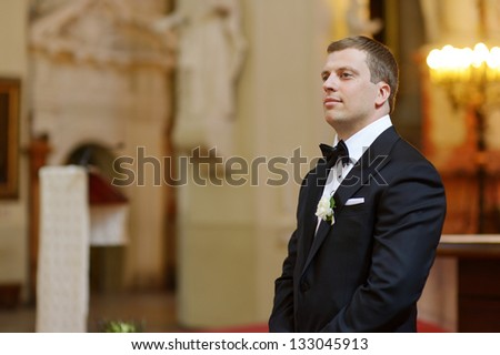 Groom waiting for the bride to come