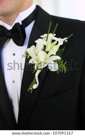 Groom Wearing a Boutonniere