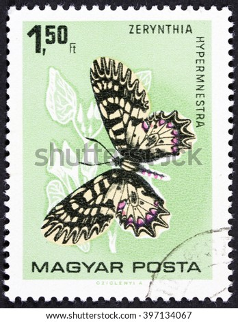 GROOTEBROEK ,THE NETHERLANDS - MARCH 20,2016 : A stamp printed in Hungary showing Zerynthia hypermnestra butterfly circa 1975