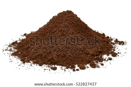 Ground coffee pile isolated on white background
