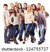 Group happy people wearing winter clothes. Isolated. - stock photo
