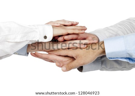 Group of a business handshake with lots of different hands