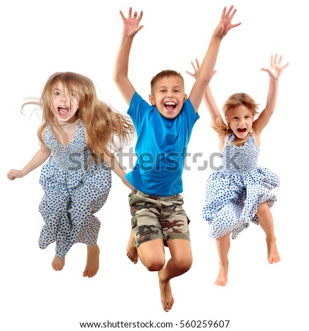 group of barefeet children shouting screaming jumping dancing. Isolated over white background. Childhood, freedom, happiness, active lifestyle concept. Young jumpers kids girls an? boy